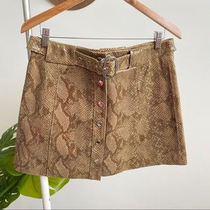 Zara • NWT Snake Print Leather Skirt Sz L
